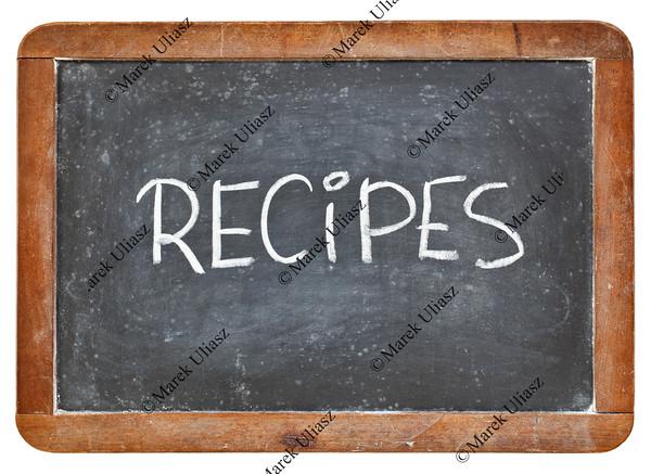 recipes word on blackboard