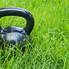 heavy iron  kettlebell in grass