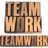 teamwork word in wood type