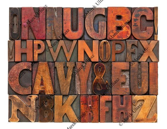antique lettepress wood type alphabet