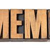 memo word in wood type
