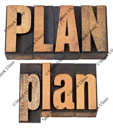 plan word in letterpress wood type