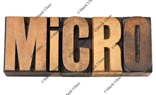 micro  word in wood type
