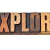 explore word in letterpress wood type