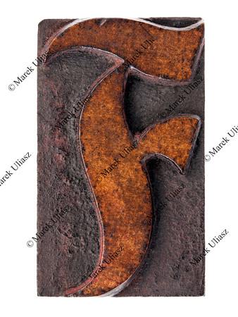 ornamental letter F in wood type
