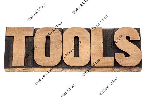 tools word in wood type