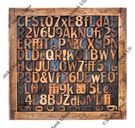 vintage wood type printing blocks