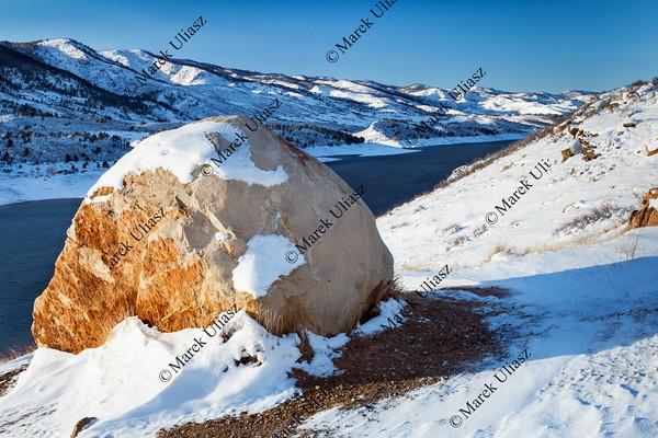 mountain lake in winter scenery