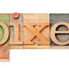 pixel word in wood type