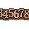numbers in wood letterpress type