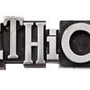 ethics word in metal type
