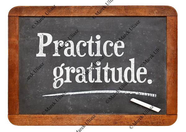 practice gratitude on blackboard