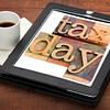 tax day reminder on digital tablet