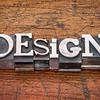 design word in metal type