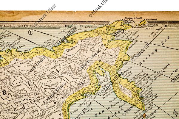 Siberia on a vintage map