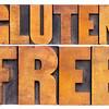 gluten free words in wood type