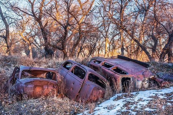 rusty junk cars