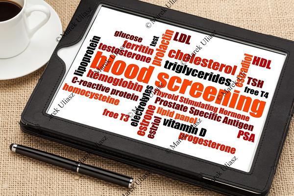 blood screening word cloud
