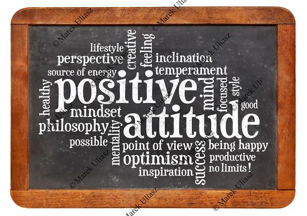 positive attitude concept on blackboard