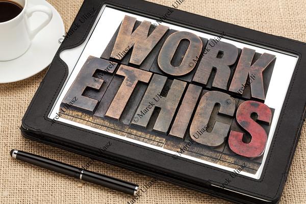 work ethics on digital tablet