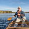 enjoying  morning canoe paddling