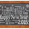 Happy New Year 2015 on blackboard