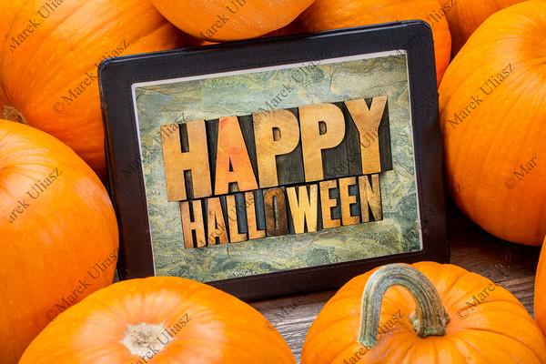 Happy Halloween on tablet