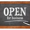 open for business blackboard sign