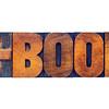 e-book word in letterpress wood type