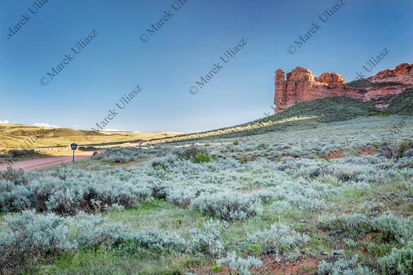 prairie, shrubland and sandstone