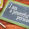 Positive affirmation words on blackboard