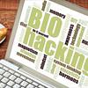 biohacking word cloud on tablet