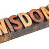 wisdom word in vintage wood type