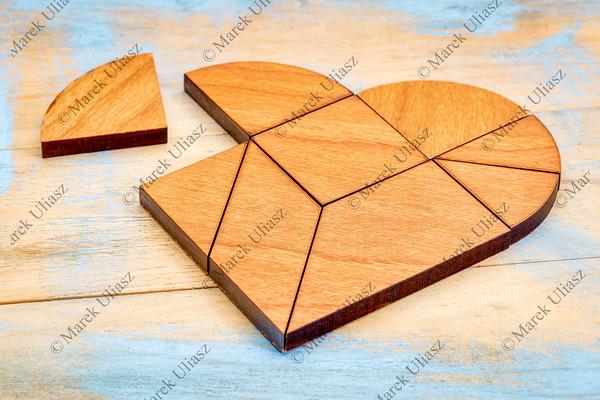 wooden heart tangram