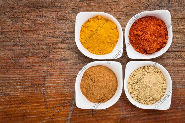 turmeric, ginger, cinnamon and paprika
