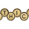 ethics word in  typewriter keys