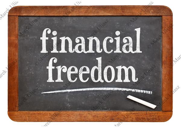 financial freedom on blackboard