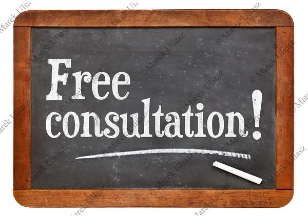 Free consultation blackboard sign