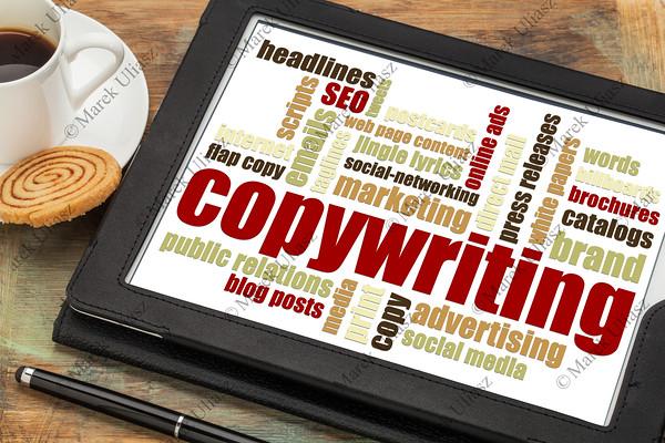 copywriting word cloud on tablet