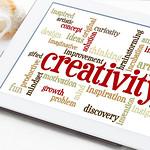 creativity word cloud on tablet
