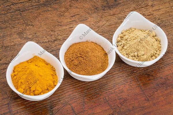 turmeric, ginger and cinnamon