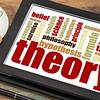 theory word cloud on digital tablet