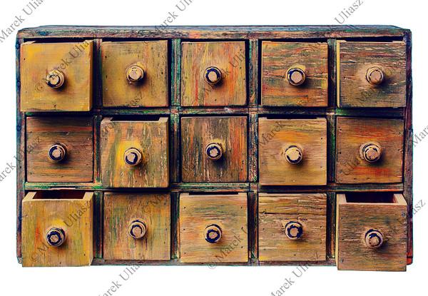 primitive grunge drawer cabinet