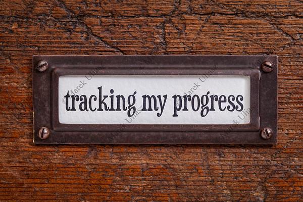 tracking my progress - file cabinet label