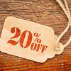 twenty percent off discount -  paper price tag