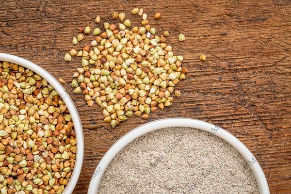 buckwheat grain and flour