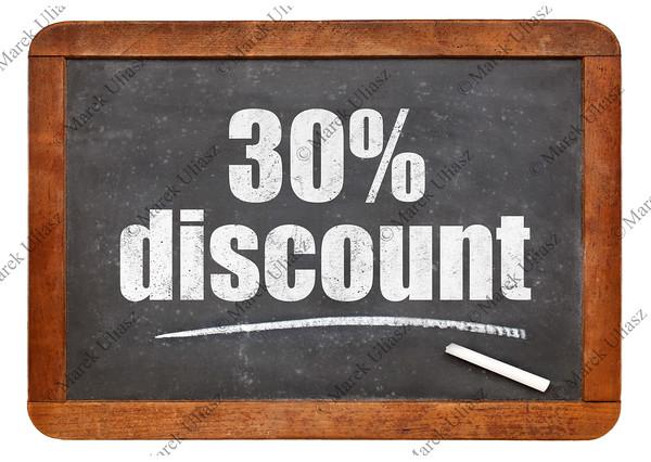 thirty percent discount blackboard sign