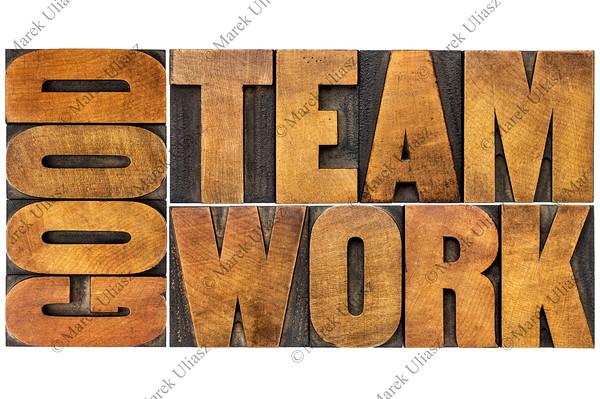 good teamwork word in wood type