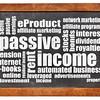 passive income word cloud on blackboard