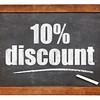 ten percent discount blackboard sign